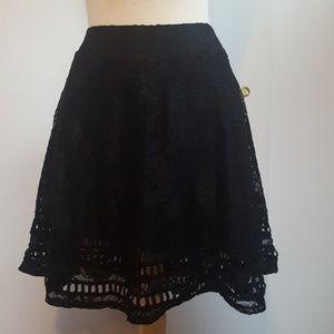Black Flowy Lace Swing Skirt by Xhilaration Large